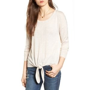 Madewell Modern Tie Front Oatmeal Sweater Medium